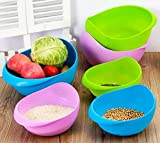 #6: Wash Rice Fresh Plastic Colorful Rinse Fruit Vegetables Basin Stainer & Sieve Bowl Drainer Kitchen Basket Good Quality (Purple)