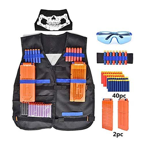 Kit de Chaleco Táctico de Los Niños, Tactical Chaqueta para N-Strike Elite Nerf Juegos con Dardos de Recarga Bullets + Protección Gafas + Clips de Recarga Rápida +Bufanda Máscara Scarf