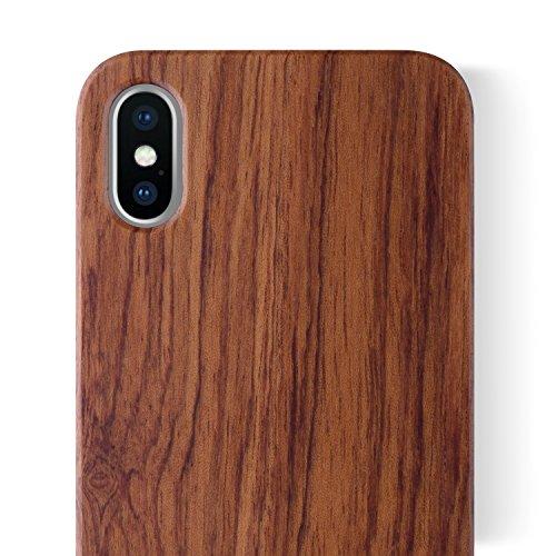 iCASEIT Holz Schutzhülle für Apple iPhone XS/X Ultra Slim Echtem Holz Hülle Hart Back Case Cover Etui für Apple iPhone XS/X (5.8 Zoll) Handyschale - Rosewood
