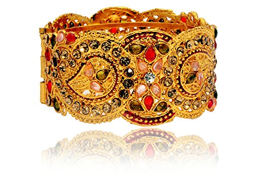 Mansiyaorange Traditional Fancy Designer Casual Party Wedding Wear Original One Gram Gold Hand Meena Work AD Polki Kundan Golden Openable Bangles Bracelet For Women(OPENABLE 2.6 INCH 4 CM WIDE)  available at amazon for Rs.285