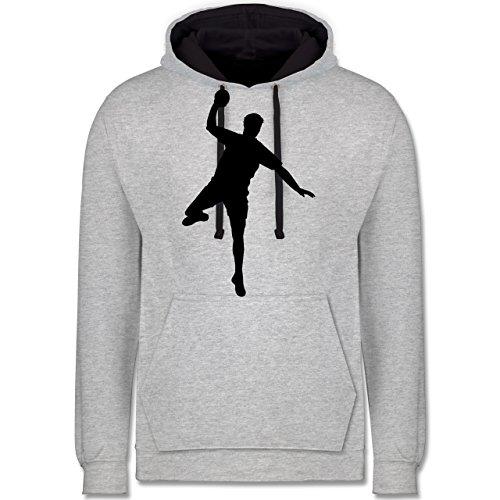 Shirtracer Handball - Handball Wurf - L - Grau meliert/Navy Blau - JH003 - Kontrast Hoodie