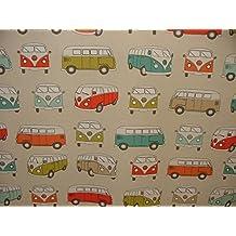 Fryetts con licencia oficial VW Volkswagen furgoneta Multi cortina tela de tapicería se vende por metros