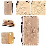 BoxTii Galaxy S5 Mini Hülle [mit Frei Panzerglas Displayschutzfolie], Bling Glitter Schutzhülle, Ledertasche Handyhülle mit Kartenfächern für Samsung Galaxy S5 Mini (#6 Champagne Gold)