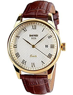 amstt Herren Braun Leder Band Datum Kalender Armbanduhr Damen Golden Ton Armbanduhr Analog Quarz Wasserdicht Uhren...