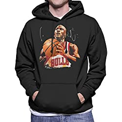 Sidney Maurer Original Portrait Of Michael Jordan Bulls White Jersey Men's Hooded Sweatshirt