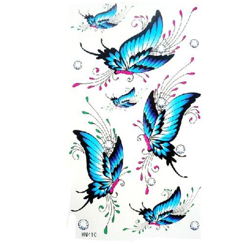 Kinghorse Sweat Belle preuve de l'eau de tatouage temporaire Sticker Peinture Corps Féminin pour la femme (de jolis papillons bleus en nombre avec des cristaux petits) avec un MicroDeal® Piece chiffon de nettoyage marques par ordre