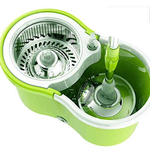 Ruota la Scopa e Il Secchio con 3 spazzole in Microfibra per la Pulizia del Pavimento e Una Scopa Rotante Facile da Pulire,Green