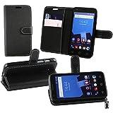 Emartbuy® Vodafone Smart Speed 6 Premium PU Leather Funda Wallet Soporte Carcasa Case Cover PU Cuero Negro con Tarjeta de Crédito Slots