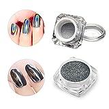 2Stück Nagel Puder Chrome saviland 1Set, Schwarz, und zu 1holographic-leuchtendes Pulver, Mirror Nail Glitter Powder Puder Nail Art Pigment Maniküre