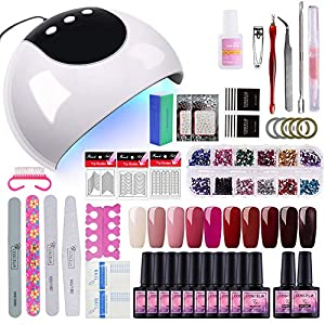 Saint-Acior 10PCS Esmalte de Uñas Semipermanente Uñas de Gel Soak off 8ml Nail Dryer 24W UV/LED Lámpara Secador de Uñas Primer Uñas Top Coat Herramiento de Manicura Kit