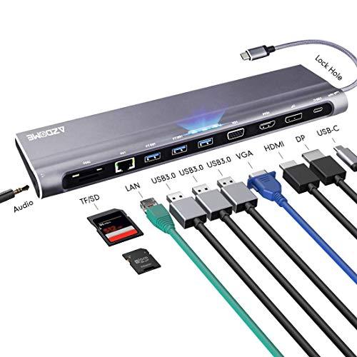 Azdome 12 Ports Aluminium USB C Hub mit 4K HDMI, 1080P VGA, DP, Ethernet RJ45, Type C PD, 3 USB 3.0 Ports, 3.5mm Audio, SD/TF Kartenleser für MacBook, Chromebook, Andere Type C Geräte(JF68)