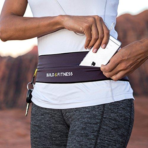 Fitness-Gürteltasche mit Schlüsselanhänger, unisex, geeignet für iPhone 6, 7, 8 plus, X.  5 Farben. Nutzen Sie diesen Fitness-Gürtel für Wandern, Fitness, Training, Radfahren, Walken, Joggen, Yoga, Sport, Reisen und Outdoor-Aktivitäten., graphit, Medium/30