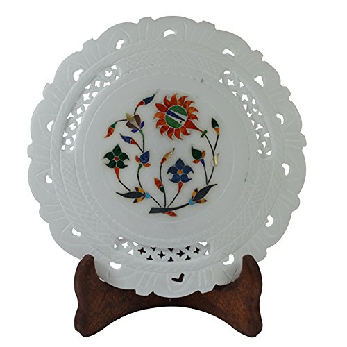 Craftuno Handcrafted Marble Decorative Plate With Inlay Work & Carving