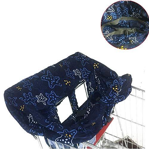 Todaytop 2-In-1 Baby Schutz-Abdeckung mit Sicherheitsgurt für Einkaufswagen und Hochstuhl Faltbare Einkaufswagen-Abdeckung Kinderstuhlkissen-Schutz für Kinder von 6 Monate bis 3 Jahre