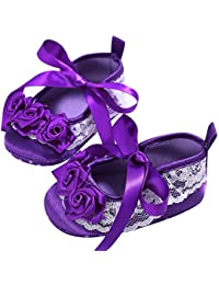 Baby Shoes Girl Prewalker Toddler First Walkers Lace Bowknot scarpe antiscivolo, Purple