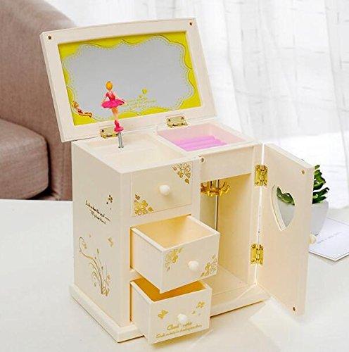 WWUUOOPRT Geburtstagsgeschenk-Spieluhr Kleiderschrank Design Dresser Rotierende Mädchen Spieluhr...