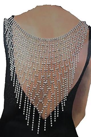 Frauen Extralange öffnen Zurück Halskette aus Metall Modeschmuck Fransen Fancy Hochzeit