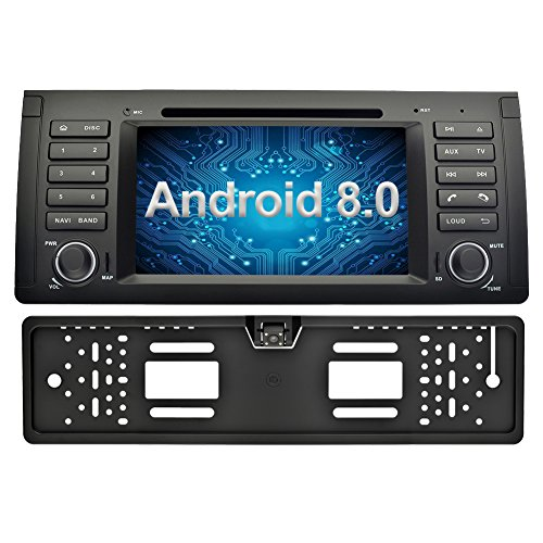 Ohok 7 Zoll Bildschirm 1 Din Autoradio Android 8.0.0 Oreo Octa Core 4G+32G Radio mit Navi Moniceiver DVD GPS Navigation Unterstützt Bluetooth DAB+ für BMW 5 E39 Series/X5 E53 Series mit Rückfahrkamera