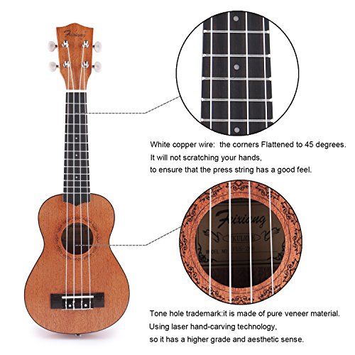Soprano Ukulele Mahogany Wooden Ukulele Beginner Kit Professional Music Ukulele Travel Mini Fingerstyle Ukulele Professional Music Acoustic Fretboard Ukulele for Kid Youth Adult Brown