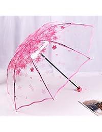 Xinlands - Paraguas plegable para lluvia, nieve, viaje, medio asa automática, transparente