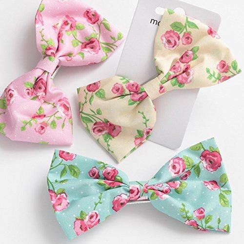 Mädchen blühen Bogen für Haar - rosa, gelb und Minze grün -