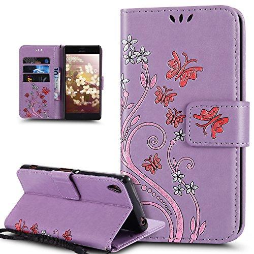 Coque Sony Xperia Z5,Etui Sony Xperia Z5,Peint coloré Embosser Papillon fleur Housse Cuir PU Etui Housse en Cuir Portefeuille de Protection Flip Case Portefeuille Etui Coque pour Sony Xperia Z5,Violet