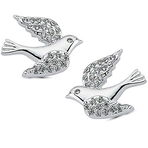 Vinani Ohrstecker Vogel mit weißen Zirkonia elegant glänzend Sterling Silber 925 Taube Bird Ohrringe 2OSK