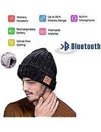 E-More Bluetooth Beanie Hat Cap, Unisex Música Inalámbrica Beanie Skully Cap Espesar Invierno