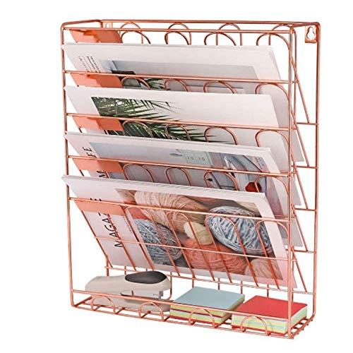 AFDK Zeitschriftenhalter Wand, Broschürenhalter A4, Zeitschriftenwandhalter, Metall, Briefablage-Ordnungssystem, Drahtablage-Pfostenablage, ausziehbare Regale, 40,6 * 30,4 * 10,6 cm,40,6 * 30,4 * 10,