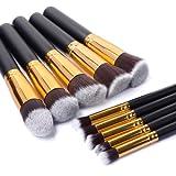 JVJ 10PCS Pinceaux de Maquillage professionnel Pro HQ ensemble des pinceaux mélange Correcteur de fard à paupières Fondation des sourcils poudre d'ombre Trousse des Outils Cosmétiques E012