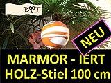 1A 18 cm Gartenkugel 100 cm + Stiel orange weiß GKM Rosenkugel Deko Kugel aus Glas weiss