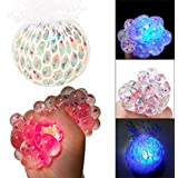 Rameng Balle Anti Stress Raisin Multicolore Lumineux LED Squishy Jouets Anxiété Relief Stress (A)