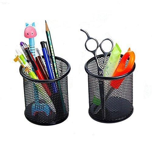 naisecore 2schwarz rund Stahl Mesh Metall Style Stift Bleistift Cup Schreibtisch Organizer Halter für Home Office Decor