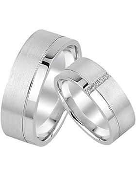 2 Eheringe Trauringe Silber 925 Paarpreis mit Gravur Zirkonia Verlobungsringe Verona02