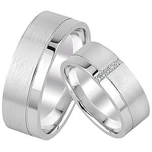 2 Eheringe Trauringe Silber 925 Paarpreis mit Gravur Zirkonia Verlobungsringe Verona02 Gr 10