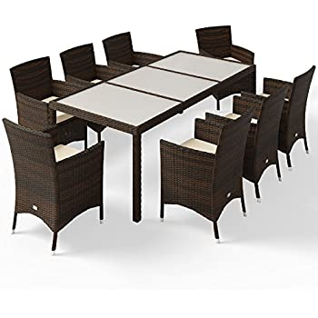 36ec34269e Deuba Poly Rattan Garden Dining Table and Chairs Set Outdoor Patio  Conservatory Furniture 8 Seater Beige Black Brown (Brown)