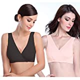 ZUMIY Nursing Sleep Bra, Seamless Pregnancy Maternity Breastfeeding Modal Top (XL/IT 3G 4D/ DD/F/G 5C/ D/DD, Black+Apricot/ 2 Pack)