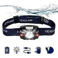 SHENKEY Linterna Frontal LED, USB Recargable Super Bright Headlights 300 Lúmenes, 6 modos de Iluminación, Blanco y rojo LED, Waterproof Hard Hat ligh ideal para acampar, correr, caminar y leer