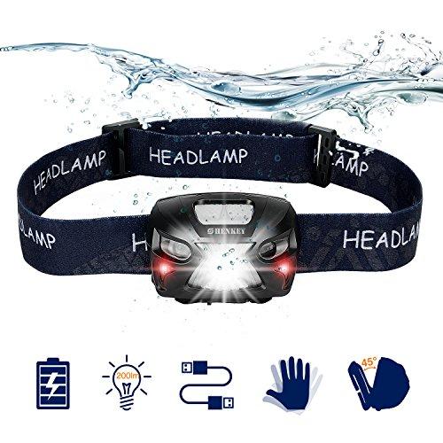 LED Stirnlampe Taschenlampe, USB wiederaufladbare Super Bright Scheinwerfer 300 Lumen, 6 Leuchtmodi, White & Red LEDs, wasserdichte Hard Hat Ligh Ideal für Camping, Laufen, Wandern und Lesen
