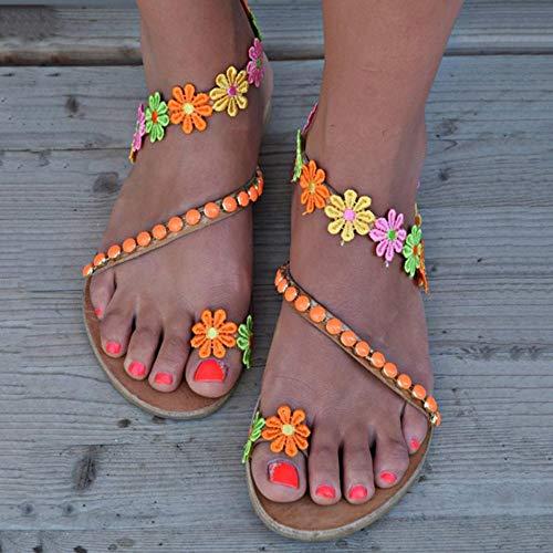 Seite Blume Sandalen (XAFXAH Sandalen Damen Sommer,Frauen Sandalen Böhmen Stil Sommer Schuhe Für Frauen Flach Farbe Sandalen Schuhe Blumen Flip Flops Plus Size, 38, Wie In Der Abbildung Gezeigt)