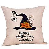 Fannyfuny Cojines Colorido Otoño Estampade Flor de Algodón Throw Pillow Case de Halloween Funda de Almohada para cojín 45x45 cm