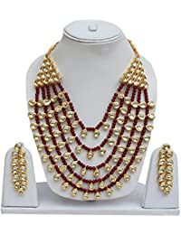 Lucky Jewellery Ethnic Maroon Color Pearl And Kundan Necklace With Earring For Girls & Women