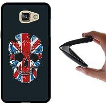 Funda Samsung Galaxy A5 2016, WoowCase [ Samsung Galaxy A5 2016 ] Funda Silicona Gel Flexible Calavera y Bandera de Inglaterra, Carcasa Case TPU Silicona - Negra