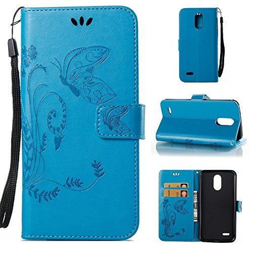 EKINHUI Case Cover Solid Color Faux Leder Bookstyle Brieftasche Stand Case mit geprägten Blumen & Lanyard & Card Slots für LG LS777 ( Color : Coffee ) Blue