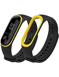 Hongtianyuan Correa de Recambio, Kit de Reposición, Correa de Repuesto para Reloj Inteligente de Xiaomi Mi Band 3, Dos Colores (Negro amarillo)