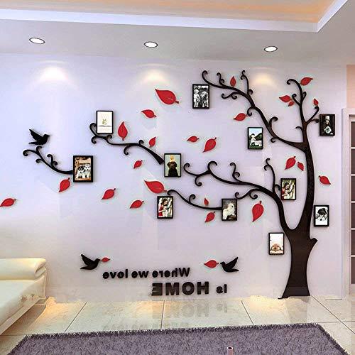 Asvert adesivi da parete in acrilico a vita d'albero con cornici per foto di diverse dimensioni adesivi murali nero tronco e rosse foglie a sinistra xl