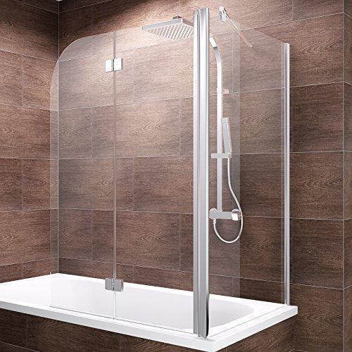 Schulte Duschwand Angle, 120x75x140 cm, 2-teilig faltbar + feste Seitenwand, Sicherheitsglas klar 6 mm, Profilfarbe chrom-optik, Duschabtrennung für Badewanne
