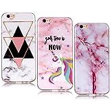 YKTO Marmor Hülle iPhone 6 6s Case 4.7 Zoll Handyhülle 3D Muster Weiche Silikon Handytasche [3 Packs] Kratzfest Ultra Dünn Schutzhülle Schutz iPhone6/6s Etui Jugendfarbe