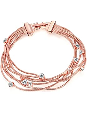 Tinksky Crystal Bangle Multi-Armband Kette für Frauen Mädchen (Roségold)