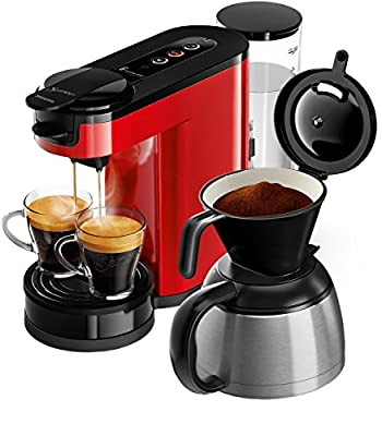 Senseo HD6592/80 Freestanding Manual Pod coffee machine 1L 7cups Black, Red coffee maker HD6592/80, Freestanding, Pod coffee machine, 1 L, Ground coffee, 1450 W, Black, Red